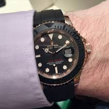 2015 rolex yacht master rose gold mens watch rubber strap was click to enlarge image