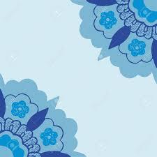 Sier Hoeken Bloemen Silhouet Patroon Blauwe Hoek Bloemen Geïsoleerd