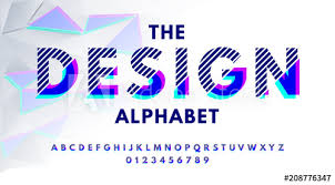 Stylish Modern Abstract Font And Alphabet With Numbers