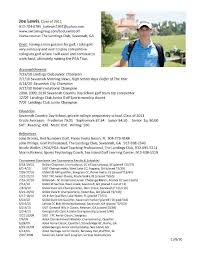 College Golf Resume Template