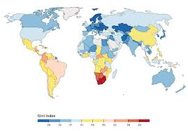 World Map Of The Gini Coefficient Index The Latest