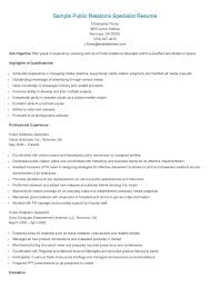 Release Of Information Specialist Sample Resume Sample Public Relations Specialist Resume Resame Pinterest 12