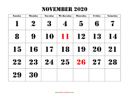 November November Calendar Free Download Printable November 2020 Calendar Large Font