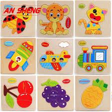 Hot <b>New Baby Toys</b> Cute Cartoon Animals <b>Wooden</b> 3D Puzzle ...