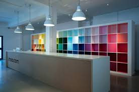colorful cabinet and white long ikea reception desk using rustic pendant lighting ideas