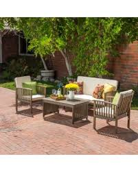 carolina 4 piece outdoor acacia sofa set by christopher knight home grey patio furniture wood