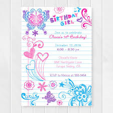 Birthday Invatations Notebook Doodles Tween Birthday Invitation Girl Birthday Invitations Teenage Party Invites Sweet Sixteen Birthday Party Printable 0202