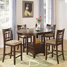 coaster home furnishings lavo 5 piece counter height dining set with table with extension leaf and