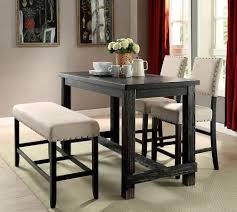 Sania Ii Counter Height Dining Room Set W Bench Casual Dining Counter Height Dining Table Bench