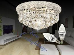 modern iron k9 crystal chandelier ceiling pendant light lamp chrome 45x27cm uk