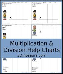 3 Dinosaurs Multiplication Division Help Chart With