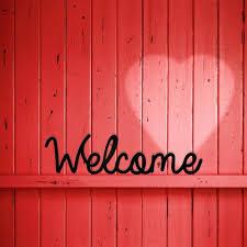 pink welcome welcome schreibschrift