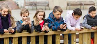Image result for children looking at social media