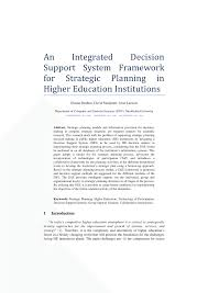 strategic planning frameworks an integrated decision support system framework for strategic