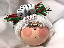 bunco gift grandma mrs claus ornament three dice hand painted handmade personalized and themed by townsend custom gifts f