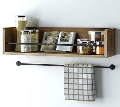 metal and wood wall shelves floating shelves rustic kitchen wood wall shelf with metal rail rustic