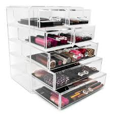 acrylic cosmetics makeup and jewelry storage case display 3 large and 4 small drawers e 1 2 3