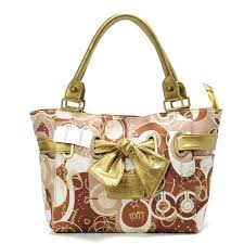 Coach Poppy Bowknot Signature Medium Yellow Totes AVO Outlet Clearance Sale