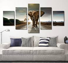 5 panel african elephant canvas wall art prints picture 033 1  on african elephant canvas wall art with 5 panel african elephant canvas wall art prints picture painting