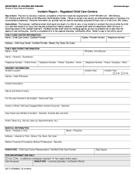 Child Care Incident Report Example Child Care Incident Report Template Magdalene Project Org