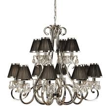 oksana 12 light traditional nickel chandelier with black shades