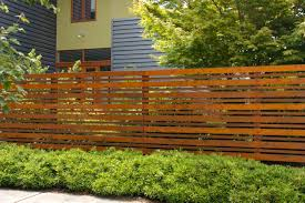 Decorations:Exterior Modern Timber Fence Design Stepped Horizontal Wooden  Fence Ideas In Front Yard