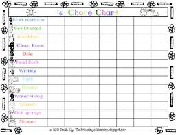 Blank Chore Chart For Adults Free Chore Charts And Fill In The Blank Charts