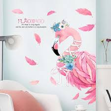 pink romantic flamingo decorative wall stickers home decor living room diy pvc animal modern wall decals bedroom art poster wall art vinyl stickers wall art