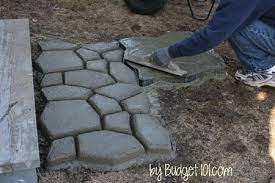 create your own faux stone walkway for