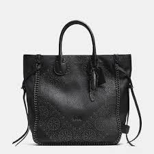 Lyst - Coach Tatum Studded Tall Tote In Pebbled Leather in Black