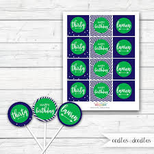 30th Birthday Cupcake Toppers Navy And Green Blue And Green Party