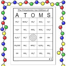 Polyatomic Ion Chemistry Bingo