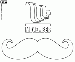 Small Picture Movember logo and a mustache coloring page printable game