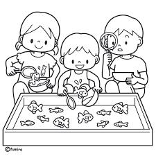 金魚すくいをする子どもたちのイラストぬりえ 子供と動物の