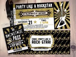 Concert Ticket Invitation Template ROCK STAR Concert Ticket Birthday Party Invitation Music 12
