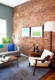 living room red brick wall interior