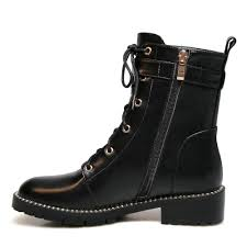 com studded ankle boot women genuine leather lace up buckle strap closed toe low heel side zipper combat booties ankle bootie