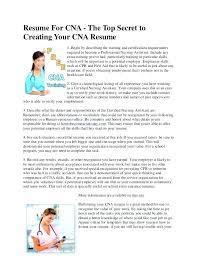 Certified Nursing Assistant Job Description For Resume Resumes