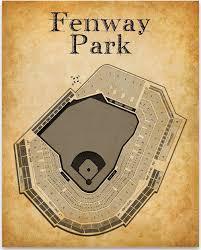 Fenway Park Baseball Stadium Seating Chart 11x14 Unframed Art Print Great Sports Bar Decor And Gift Under 15 For Baseball Fans