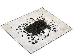 alma pura patchwork cowhide rug from black and white cowhide in five sizes from s to