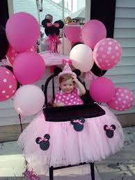 minnie mouse themed birthday party cute birthday high chair tutu and minnie mouse party decor