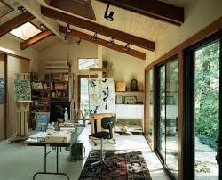 home office studio. Art Studio And Home Office Connected With The Outdoors Through Glass Doors