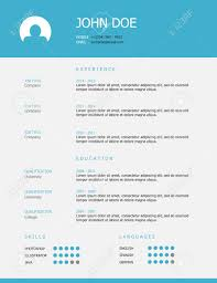 professional simple styled resume template design blue header professional simple styled resume template design blue header and gray background stock vector