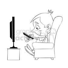 watching tv clipart black and white. royalty-free small boy binge watching tv cartoon black white 397887 vector clip art image - eps, svg, ai, pdf illustration   graphicsfactory.com clipart and