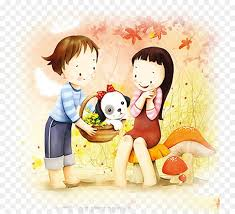 couple cartoon puppy love drawing ilration cute cartoon png 874 816 free transpa png