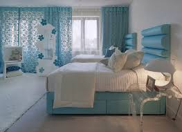bedroom blue colour idea with bed sheet rug and light white curtains