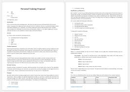 Personal Training Proposal Template For Word Proposal