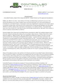 Press Releases Archives Controlled Products Llc