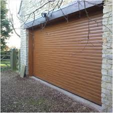 gliderol roller door with half hood and laminate woodgrain finish