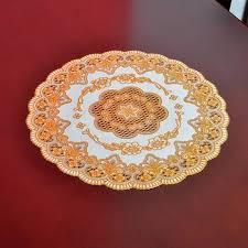 plastic hollowed table mat circular bronzing tablecloth